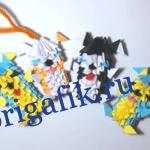 Модульное оригами Собачка из бумаги — схема, видео