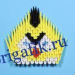 Желтая птичка Angry birds оригами из бумаги: схема и видео
