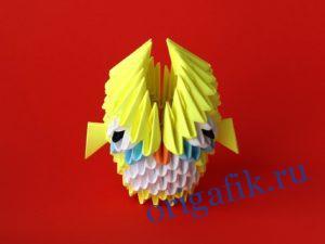 Модульное оригами сова желтая