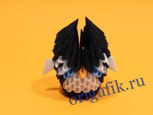 Модульное оригами сова черная