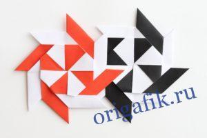 Сюрикен из бумаги схема сборки (3 варианта) Часть 1